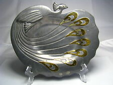 MIXED METALS ART NOUVEAU PEWTER PLATE TRAY DISH PEACOCK w/ BRASS FEATHERS c1900s