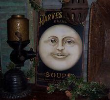Primitive Antique Vtg Style Halloween Harvest Man Moon Soup Sign Tin