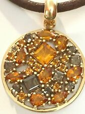 Vintage 14k Yellow Gold Citrine Topaz Leather Cord Enhancer Pendant Necklace