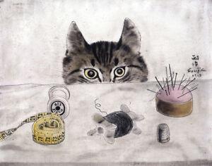 Couturier Cat by Tsuguharu Foujita   Paper Print Repro
