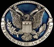 Vtg Proud Be American Eagle Seal United States Patriotic Belt Buckle