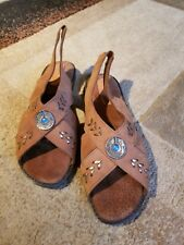 Hush Puppies Sandal Brown Leather Flat Slingback Silver Blue Medallion 11 Wide