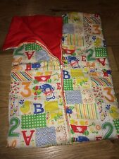 Vintage Baby Doll Sleeping Bag Red inside and Patchwork Numbers Letters