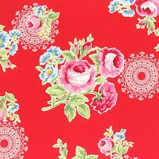 Red Flower Sugar Fall Roses Cotton Lecien Japan Fabric #3552 By the Yard