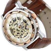 US Men Skeleton Transparent Mechanical Stainless Steel Leather Sport Wrist Watch