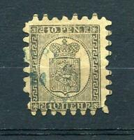 Finland/Russia 1866-74 Serpentine Roulette 10p black yellow Sc 8 FA 7 Used 2450