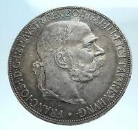 1907 AUSTRIA KING FRANZ JOSEPH I Eagle Genuine Proof Silver 5 Corona Coin i78242