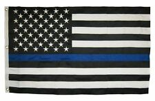 Thin Blue Line 3'x5' 2-Ply Polyester American Flag with grommets Free Shipping!