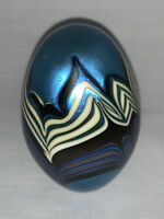 VINTAGE Orient & Flume Egg Paperweight Iridescent Pulled Feather - Signed,1977