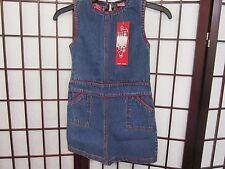 """Girls JeanieBleu Denim Jumper M (5-6 w/ red trim) New w/Tags never worn""""how cute"""