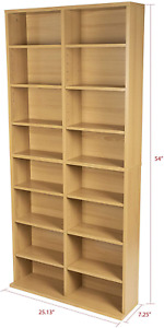 Best Adjustable Media Cabinet  16 Shelf 12 Adjustable 4 Fixed Shelves Maple NEW
