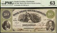 1861 $10 DOLLAR SOUTH CAROLINA BANK NOTE LARGE CURRENCY OLD PAPER MONEY PMG 63