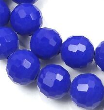25 Czech Glass Faceted Round Beads - Cobalt Blue 8mm