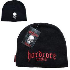 Hardcore Unidos Negro Beanie Gorra Logo & cráneo Acrílico 100% de talla única