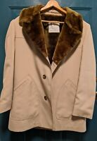 Vintage VTG London Fog Overcoat Jacket Mens 42 Beige Brown Faux Fur Sherpa Lined