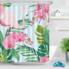 Flamingo Floral Waterproof Fabric Shower Curtain Liner Home Decor Bathroom Set