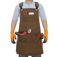 16oz Canvas Tool Apron Work Bib Apron with Tool Pockets Long Workshop Apron