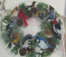 "Peggy Karr Fused Art Glass Birds and Pine Wreath 13 1/2"" Plate New Box Retired"