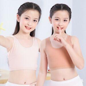 Girls Crop Tops Breathable Vest Bras Teens Soft Underwear For 6-10 Years