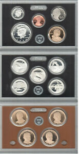 FROSTY CAMEOed 2014-S 14 Pc SILVER PROOF SET ORI BOX WITH ALL KEY COINS & PAPERS