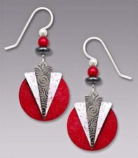 Adajio Hematite & White Triangles over RED Disc EARRINGS STERLING Silver - Boxed