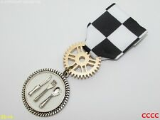 Steampunk badge brooch pin drape Medal chef restauranteur cutlery dining cook