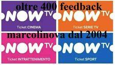 NOW TV - SKY -Full Ticket - 1 MESE SPORT + 1 MESE ENTERTAINMENT + 1 MESE CINEMA