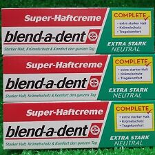 (7,79�'�/100g) 3x Blend-a-dent Super- Haftcreme NEUTRAL extra stark 47g Tube