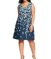 Adrianna Papell Sleeveless Abstract Jersey Dress Plus Size 16W - NO BELT