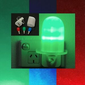 Selenite Baby Night Light with three Colored LED Light Bulbs - Red, Green, Blue