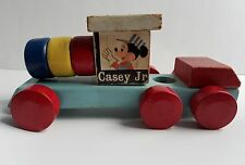 Mickey Mouse Casey Jr vintage wooden pull toy train