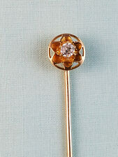 Antique 14K Yellow Gold Floral Stick Pin with 15 Point Cushion Cut Diamond