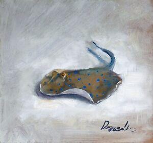 Natalia Demenko Signed HQ Oil painting Black Sea Stingray Illustration Fine Art