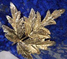 """Vintage Flora Danica 2 3/4"""" Leaf Gilded Vermeil Sterling Silver 0.925 Brooch Pin"""
