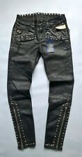 $498 POLO RALPH LAUREN SIXTY SEVEN CLUB WOMENS BIKERS WAXED STUDDED BLACK JEANS