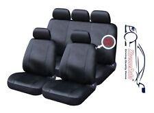 9 PCE Full Set of Black Leather Look Seat Covers for Honda Civic Accord Jazz Shu