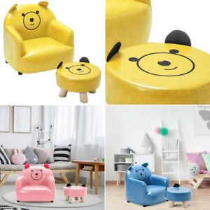 PU Leather Kids Sofa Children Chair Seat Armchair W/ Footstool Playroom Bedroom