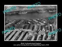 6x4 HISTORIC PHOTO OF BLYTH NORTHUMBERLAND ENGLAND THE DOCKS & YARDS c1930