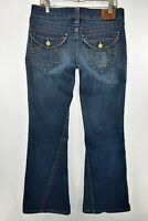 True Religion Twisted Flare Jeans Womens Size 31 Blue Meas. 33x34 Flap Pocket