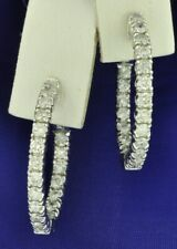 14k Solid White Gold Natural hoop Diamond earring snap lock Inside outside 2ct