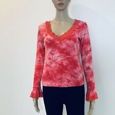 MODA INTERNATIONAL Floral Stretch Lace V Neck Top Size Small Bell Sleeves #BT