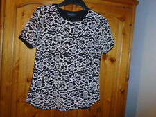 Stunning cream and black lace top with plain back, DOROTHY PERKINS, size 10