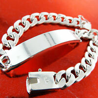Mens 925 Sterling Silver S/F ID Initial Bracelet Bangle S/F Solid Curb Link
