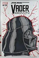 💥 VADER DOWN #1 ORIGINAL BLANK COVER SKETCH Star Wars MARVEL COMICS DARTH 2015