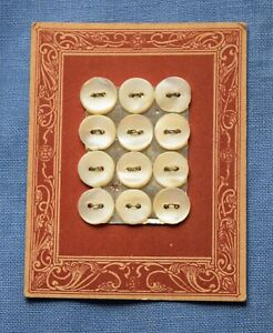 0052 Antique mother of pearl shell button card, pink art nouveau graphic