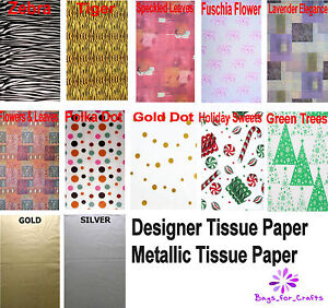 """10 LARGE Sheets Tissue Paper 20"""" x 30"""" PRINTED / GOLD / SILVER Choice  450x700mm"""