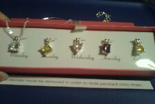 "Multi-Stone CZ Interchangeable Necklace 5 Stones Silver 18"" Chain Necklace Set"