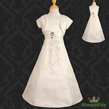 50% OFF SALE Diamante Formal Dress + Bolero Wedding Flower Girl Ivory 12 #048J