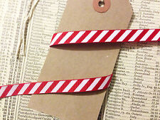 1M Red & White Stripe Candy Cane Grosgrain Ribbon 10mm 1cm Christmas Craft