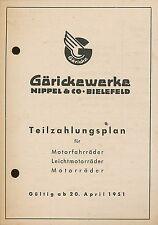 Göricke Teilzahlungsplan Motorräder Prospekt 20.4.51 Broschüre 1951 Deutschland